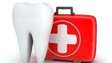 Illustrated tooth and first aid kit